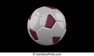 Soccer ball with flag of Qatar, 4k prores footage with alpha channel, loop