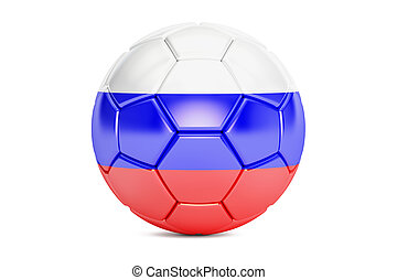 soccer ball with flag of Russia, 3D rendering