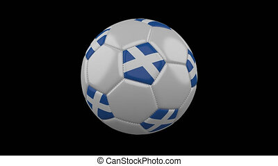 Soccer ball with flag of Scotland, 4k prores footage with alpha, loop