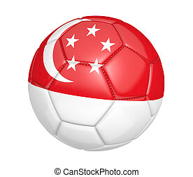 Soccer ball with flag of Singapore