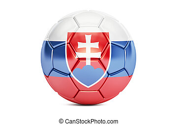 soccer ball with flag of Slovakia, 3D rendering
