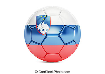 soccer ball with flag of Slovenia, 3D rendering