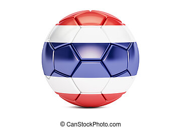 soccer ball with flag of Thailand, 3D rendering