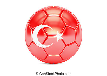 soccer ball with flag of Turkey, 3D rendering