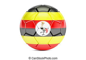 soccer ball with flag of Uganda, 3D rendering