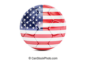 soccer ball with flag of USA, 3D rendering