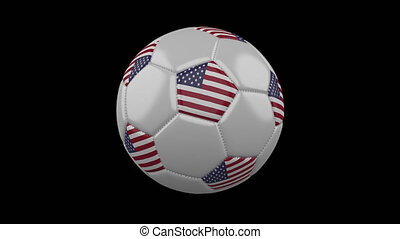 Soccer ball with flag of USA, 4k prores footage with alpha channel, loop