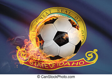 Soccer ball with flag on background series - Idaho