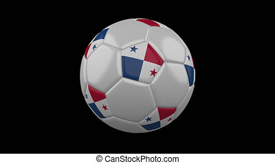 Soccer ball with flag Panama, 4k with alpha, loop
