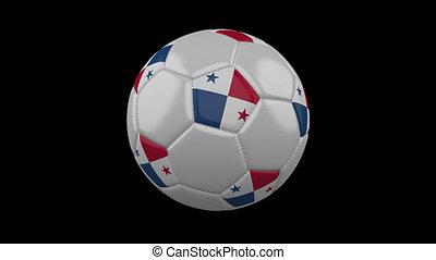 Soccer ball with flag Panama, 4k with alpha, loop