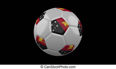 Soccer ball with flag Papua New Guinea, 4k with alpha, loop...