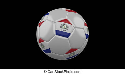 Soccer ball with flag Paraguay, loop, 4k alpha