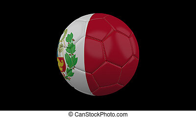 Soccer ball with flag Peru , 3d rendering