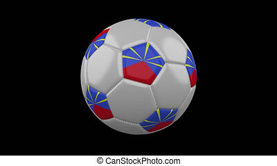 Soccer ball with flag Reunion loop 4k with alpha - Soccer...