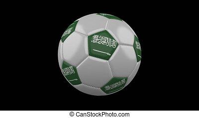 Soccer ball with flag Saudi Arabia, alpha loop - Soccer ball...