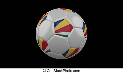 Soccer ball with flag Seychelles loop 4k with alpha