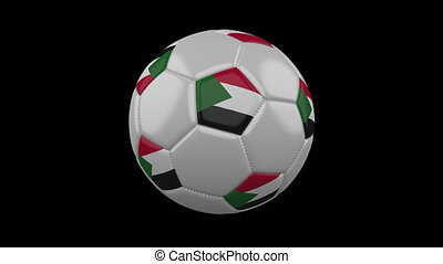 Soccer ball with flag Sudan loop 4k with alpha