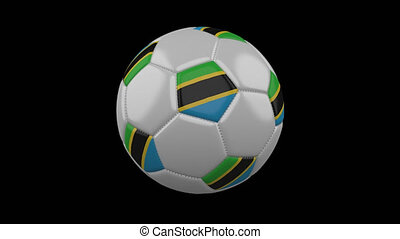 Soccer ball with flag Tanzania loop 4k with alpha - Soccer...