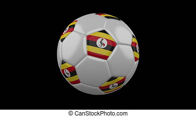 Soccer ball with flag Uganda loop 4k with alpha