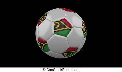 Soccer ball with flag Vanuatu, 4k with alpha, loop - Soccer...