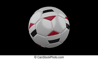 Soccer ball with flag Yemen, 3d rendering
