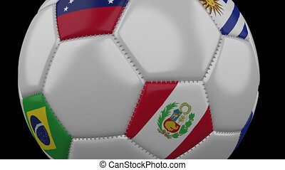 Soccer Ball with flags Copa America 2019, moving on transparent background, alpha channel, loop