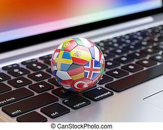 Soccer ball with flags icons from the Europe countries