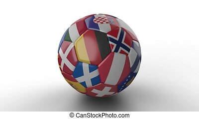 Soccer ball with flags of European countries rotates on white surface, loop 2