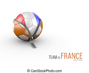 Soccer ball with France flag isolated on white background. 3d Illustration