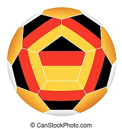 Soccer ball with German flag isolated on white background -...