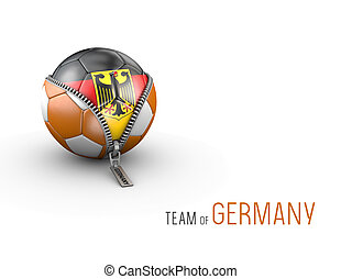 Soccer ball with Germany flag isolated on white background. 3d Illustration