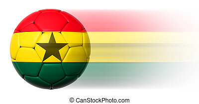 Soccer ball with Ghanaian flag in motion isolated