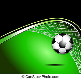 Dynamic sports background with soccer ball, goal and abstract soccer net