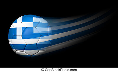 Soccer ball with Greek flag in motion on black