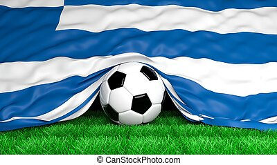 Soccer ball with Greek flag on football field closeup