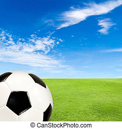 soccer ball with green grass field against blue sky