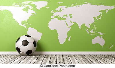 Soccer Ball with Green World Map
