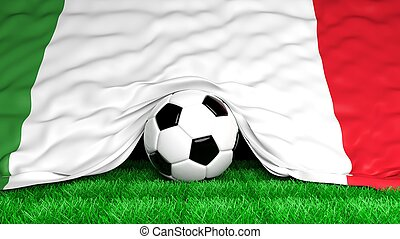 Soccer ball with Italian flag on football field closeup