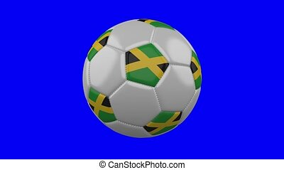 Soccer ball with Jamaica flag on blue chroma key, loop