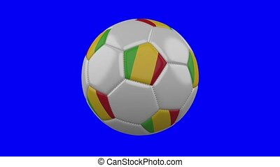 Soccer ball with Mali flag on blue chroma key background, loop