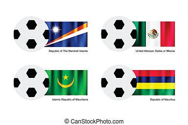 Soccer Ball with Marshall Islands, Mexico, Mauritania and Mauritius Flag