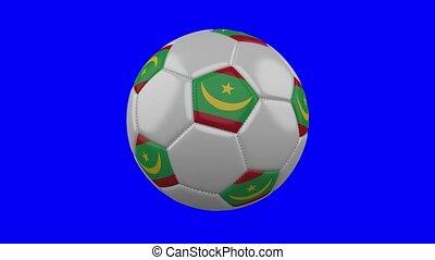 Soccer ball with Mauritania flag on blue chroma key background, loop