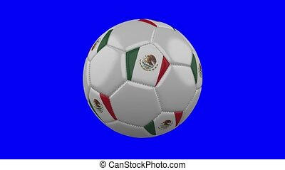 Soccer ball with Mexico flag on blue chroma key, loop
