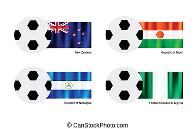 Soccer Ball with New Zealand, Niger, Nicaragua and Nigeria Flag