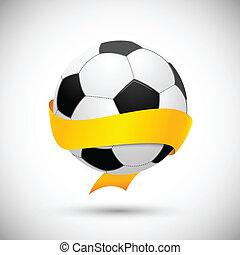 Soccer ball with orange ribbon