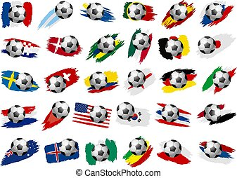 Soccer ball with paint brush stroke of national flag on white background vector illustration