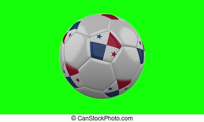 Soccer ball with Panama flag on green chroma key, loop -...