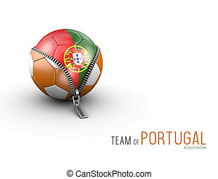 Soccer ball with Portugal flag isolated on white background. 3d Illustration