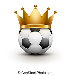 Soccer ball with royal crown. King of sport. Traditional...