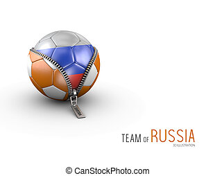 Soccer ball with Russia flag isolated on white background. 3d Illustration